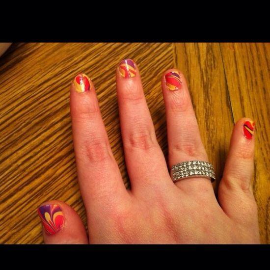 First time ever trying water marble Nails Nail Polish Nail Art Nail Fanatic