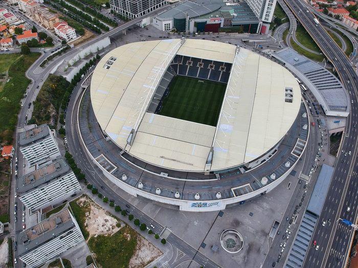 High angle view of stadium