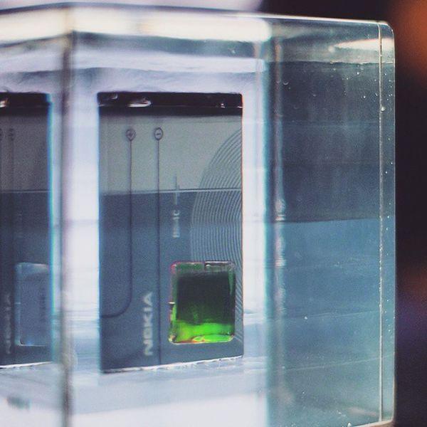 Nokia  Battery . in the Astronomy Exhibition . at the DeutchesMuseum museum. Taken by MY SonyAlpha Dslr A57 . münchen Munich bayarn Bavaria Germany Deutschland. متحف قسم فلك ميونخ المانيا بافاريا