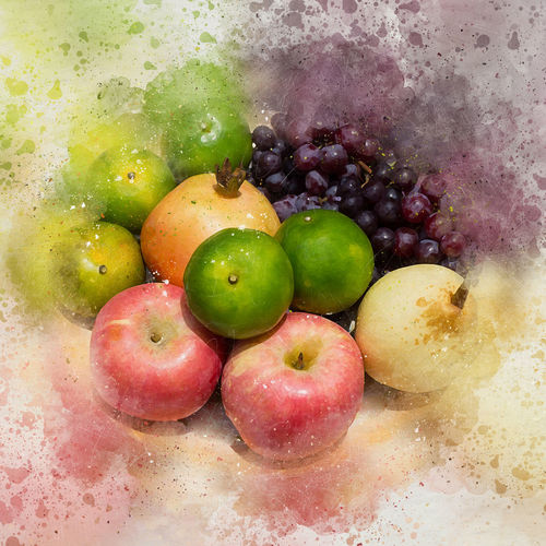 apple, orange, grape, ruby and chinese pearl fruit set - watercolor on canvas Apple Orange Ruby Apple - Fruit Canvas Art Chinese Pear Food Food And Drink Freshness Fruit Grape Grapes Healthy Eating Watercolor Painting