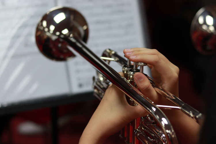 Cropped hands of person playing musical instrument