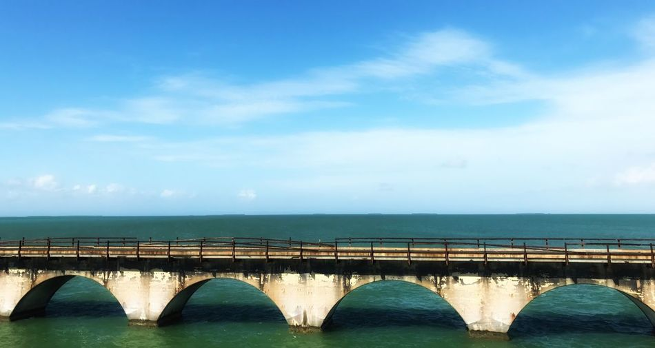Sky Bridge - Man Made Structure Architecture Connection Built Structure Transportation Day No People Outdoors The Old Seven Mile Bridge In The Florida Keys Nature Water Scenics Beauty In Nature Railway Bridge The Week On EyeEm We And The Color Minimalist Architecture