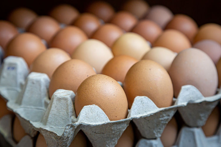 Full frame shot of eggs in container