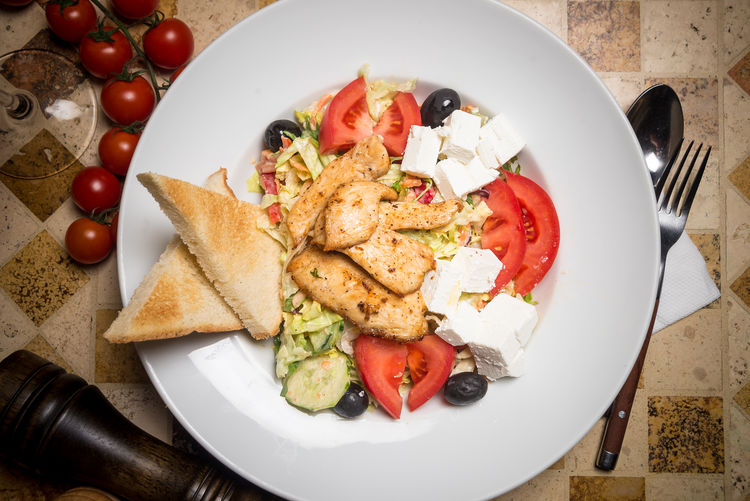 Cooking Salad Chiken Salad Day Feta Cheese Food Food And Drink Freshness Healthy Eating Indoors  No People Plate Ready-to-eat Restaurant Vegetables