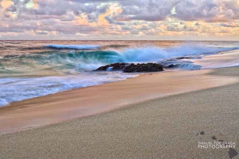 Peaches and Cream Sunrise Waves Beach Landscape