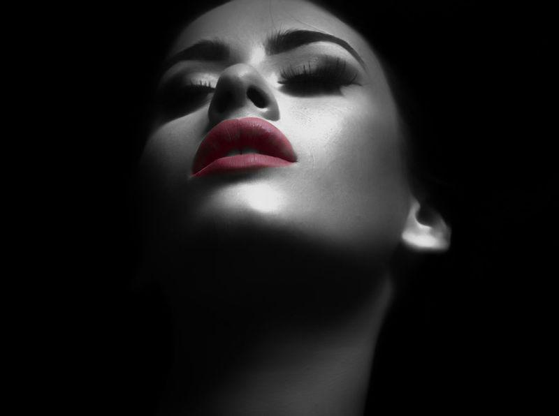 Human Body Part Human Face Portrait Lipstick Dark Beautiful Woman Body Part Women