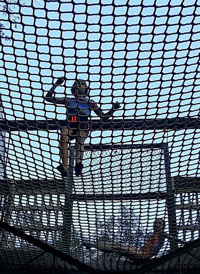 Sky Tall - High In Front Of Full Frame Outdoors Knoebelsgrove Elysburg , Pennsylvania Girls Family Fun Net Climbing Bestfriends