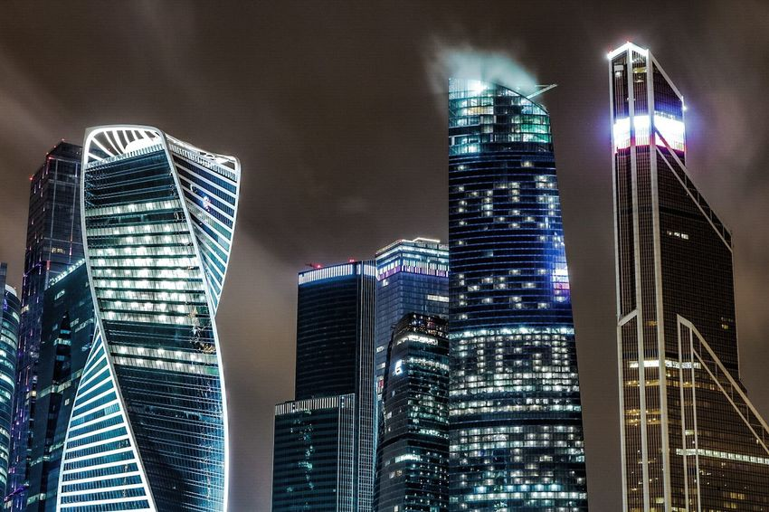 Moscow towers Skyscraper Night City Illuminated Cityscape Architecture Building Exterior Low Angle View No People Office Building Exterior Downtown District Urban Skyline Outdoors