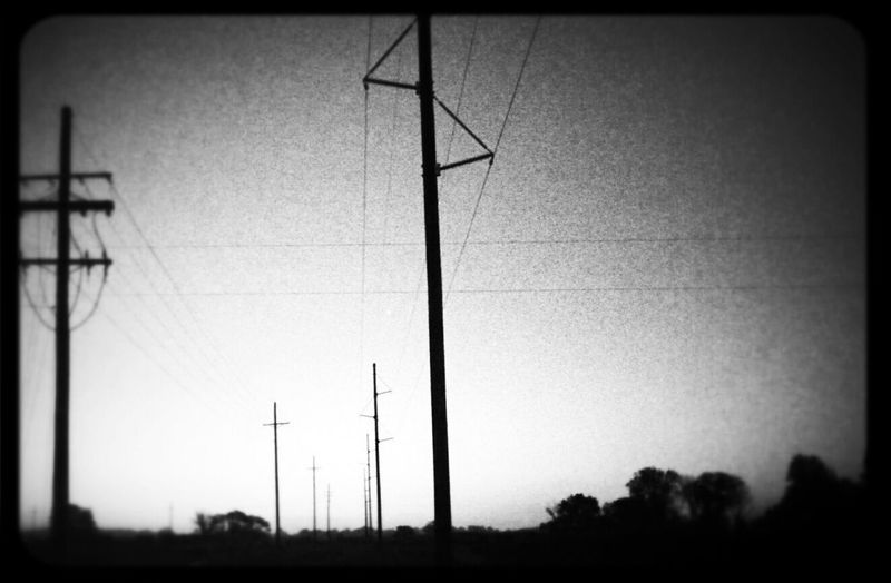 Black And White Sunrise Power Lines