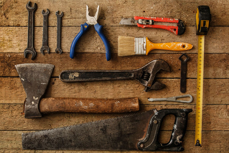 Close-up of work tools on table