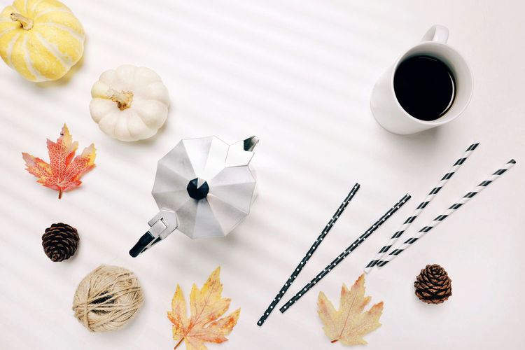 Autumn Autumn Leaves Copy Space Halloween Moka Pot Rope Thanksgiving Close-up Coffee - Drink Coffee Cup Coffee Maker Cute Day Directly Above Drink Flat Lay Food Food And Drink Freshness High Angle View Indoors  No People Party Straw Table