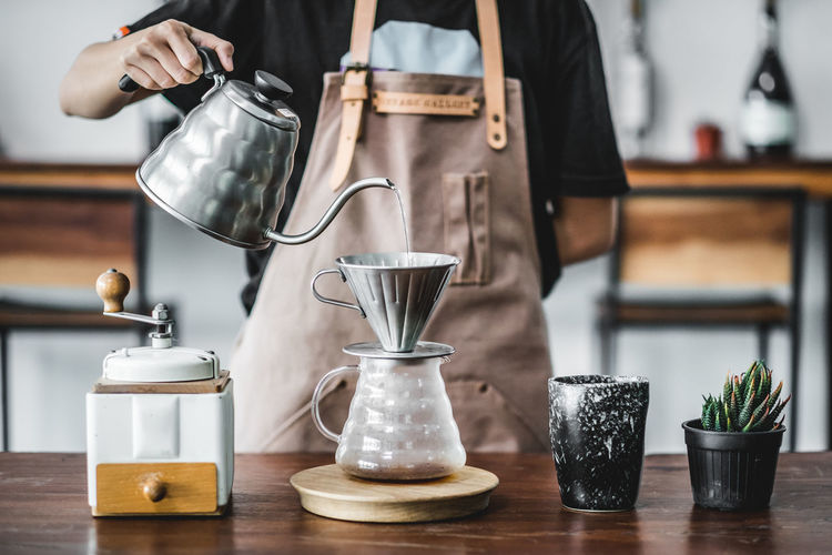 Drip Coffee Americano Coffee DripCoffee Espresso Pouring Barista Beakfast Brewery Coffee Grinder Cup Drink Drip Coffee Jug Minimal Table