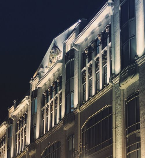 Architecture Building Exterior Built Structure Window Low Angle View Night No People Outdoors Façade City Illuminated Clear Sky Sky