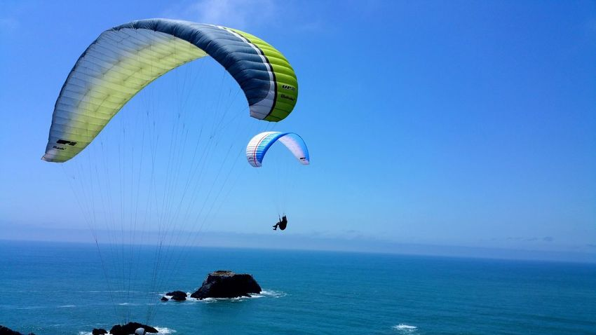 Convergence! Extreme sports - paragliding off cliffs over ocean. Two Sport Thrill Background Copy Space Moment Yellow Chartreuse  Gray White Dangerous Adventure Fun Zen Cliffs Ocean Converge Gywires Wires Bucket List Paragliding Parachute Extreme Sports Flying Sea Aerobatics Pilot Adventure Beach Mid-air
