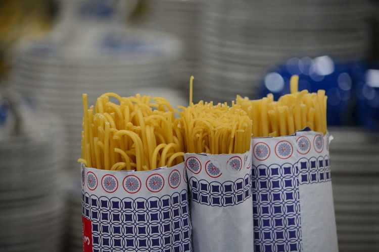 Close-up of spaghetti in packages