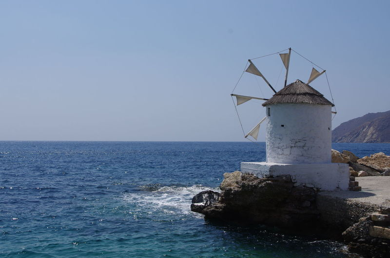 GREECE ♥♥ Griechenland Griechische Inseln Amorgos Amorgosisland Architecture Beauty In Nature Blue Clear Sky Day Greece Horizon Over Water Nature No People Outdoors Scenics Sea Sky Tranquility Water Wind Power Wind Turbine Windmill