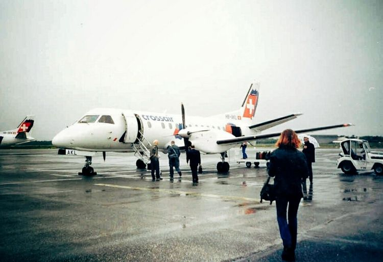 Boarding in 1998... TBT  Throwbackthursday  Me Redhead Airport Airplane Transportation Air Vehicle Commercial Airplane Asphalt Travel People Outdoors Aerospace Industry Adults Only Young Adult Sky Crossair Vintage Berlin Film Photography Film Is Not Dead