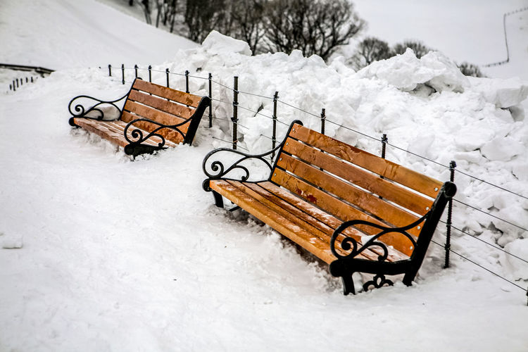 Benches On Snowcapped Landscape