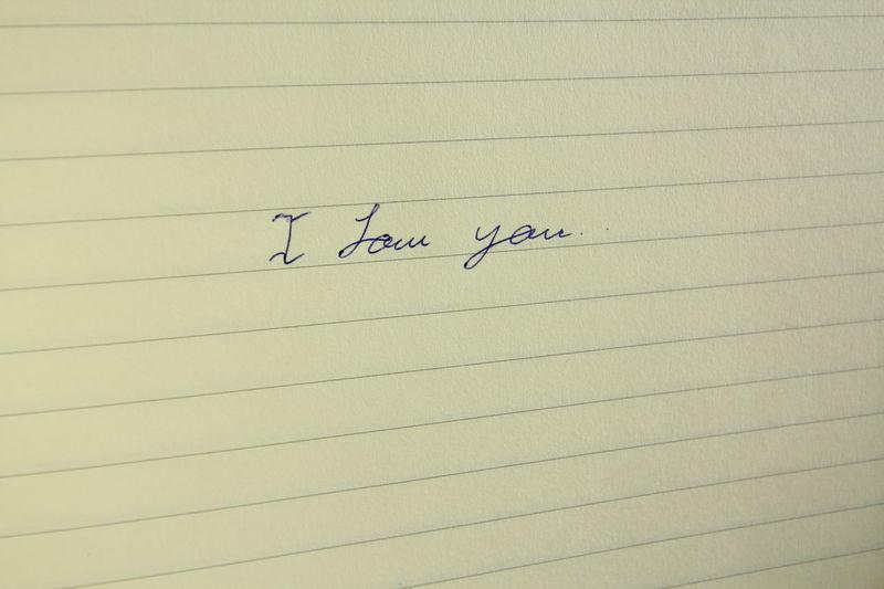 Blue Boy Friend Brown Girl Friend Handwriting  I Love You Paper Sadly