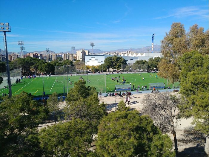 Sunny day in January Kids Playing Sport Sport Field Football Stadium Children Playing Football Children Children Playing Football Tree Sky Building Exterior