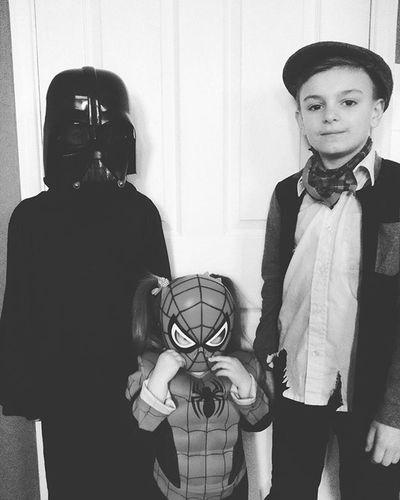 The best I could do for a last minute job! Olivertwist Darthvader Spiderman Fancydress Marvel Worldbookday Starwars Kids Blackandwhite Blackandwhitephoto