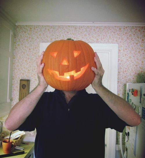 Happy Halloween For halloween we carve pumpkins to put out with a candle inside. Pumpkin Head Pumpkin Carving Natrral Lantern Lantern Display Tradition In the past, teens would smash pumpkins for fun. It was lucky if your pumpkin was still there November first. Halloween