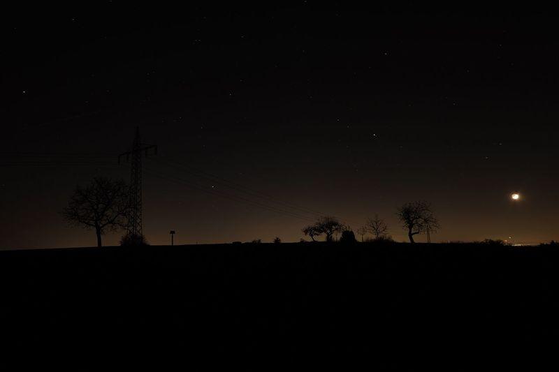 Silhouette Sky Moon Night Tree Nature No People Beauty In Nature Eavening Sunset Star Stars Field Fields Star Field Fieldscape Stars & Dreams Star - Space Astronomy Outdoors Field Moon Space EyeEm Best Shots EyeEm Nature Lover