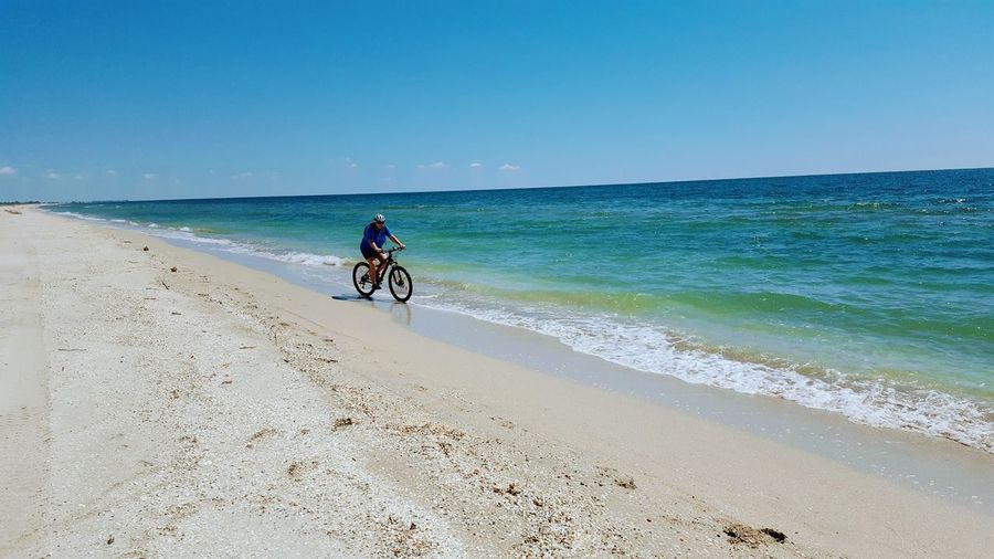 fun Headwear Sea Beach Full Length Clear Sky Water Sand Bicycle Cycling Helmet Riding Biker Calm Shore Mountain Bike Horizon Over Water Sandy Beach
