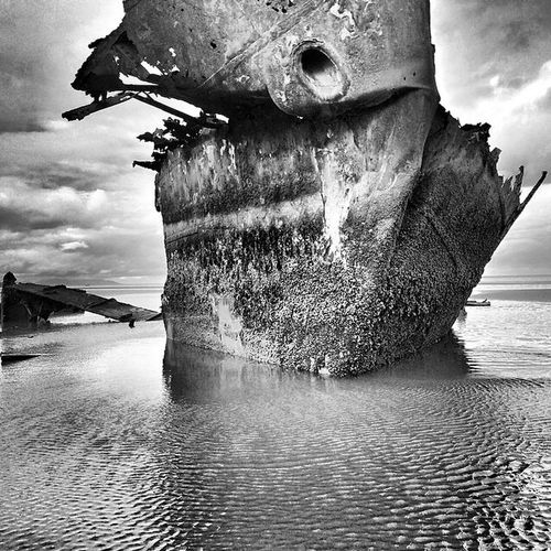 Wreck of the 'Irish Trader' Ireland Boyne, River, Drogheda, Co. Louth Termonfeckin Baltray Shipwreck Blackandwhite Black & White