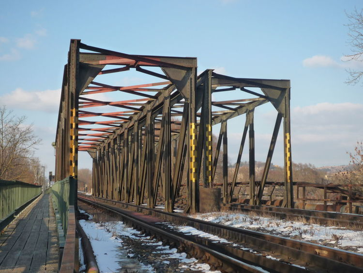 Bridge - Man Made Structure Metal No People Outdoors Railroad Track Sky Winter
