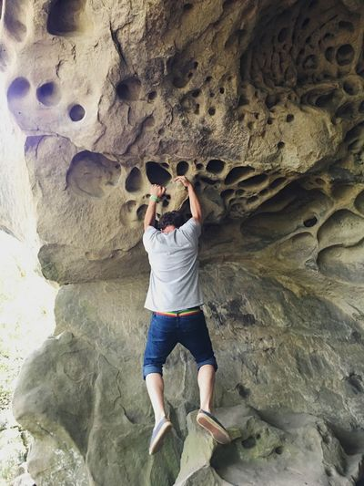 Rock - Object Full Length Rock Formation One Person One Man Only Adventure Adults Only Leisure Activity Only Men Adult Day Rock Climbing Challenge People Nature Cliff Healthy Lifestyle Cave Climbing Outdoors
