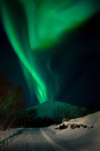 Volcanic eruption Night Green Color Beauty In Nature Sky Scenics - Nature Star - Space Environment Snow Space Aurora Polaris Dramatic Sky Landscape Mountain Nature Ice Cold Temperature