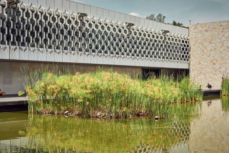 Building Building Exterior Built Structure Green Color Museum Of Anthropology Outdoors Reflection Sky Sunlight Water