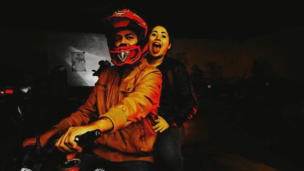 Dark Night Red Love ♥ Motorcycles Two Hearts