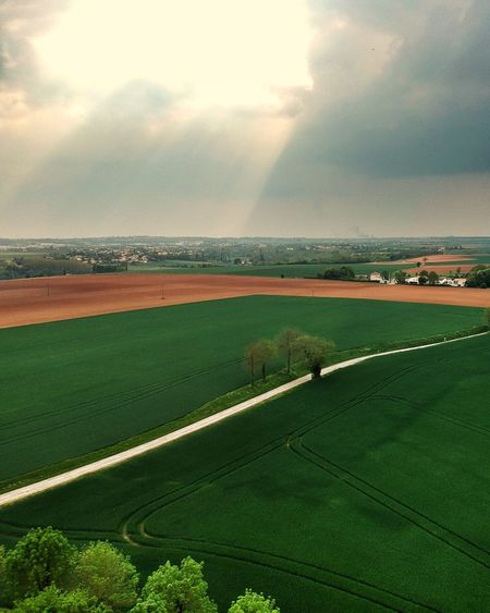 High angle view of field against sky