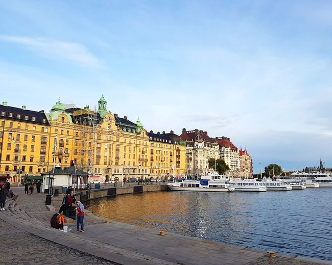 Strandvagen, a street from old pier, Stockholm Sweden Pier Stockholm Sweden Sverige Scandinavia Old Pier Port Street Old Buildings Buildings Flowers,Plants & Garden Ships Boat Boats Water Beach Sky Architecture Travel