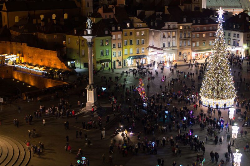 Poland Warsaw Europe Crowd Large Group Of People Group Of People City Illuminated Real People Night Architecture Built Structure Street Building Exterior City Life Transportation High Angle View Walking Women Lifestyles Incidental People Market Outdoors Light