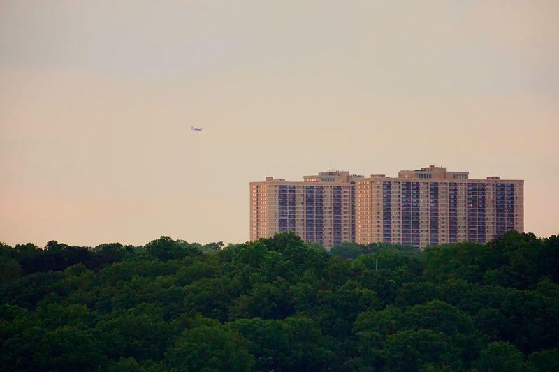 Far out Airplane Buildings Distance Trees Suburban Landscape
