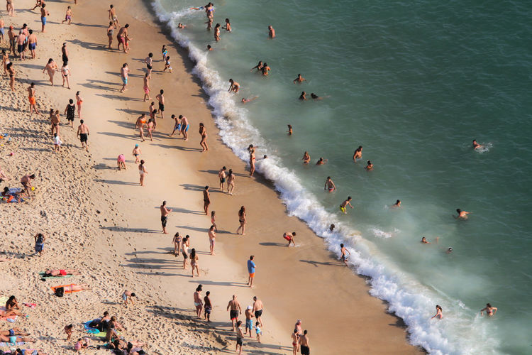Aerial view of tourists at beach