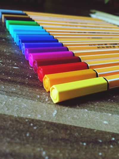 Close-Up Of Colorful Pens