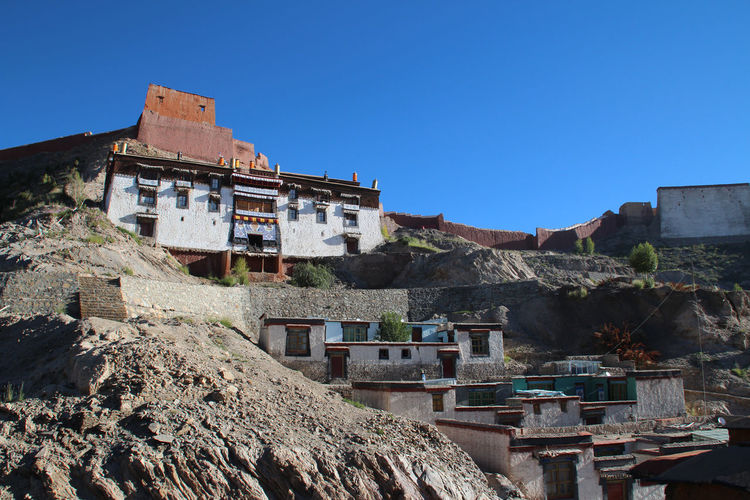 Residence for lama inside Palcho Monastery, Gyantse, Tibet Architecture Building Exterior Built Structure Clear Sky Day History House Landscape Lifestyles Mountain Nature No People Outdoors Palcho Monastery Residential Building Scenics Sky Tibetan Culture Tourism Travel Travel Destinations Vacations