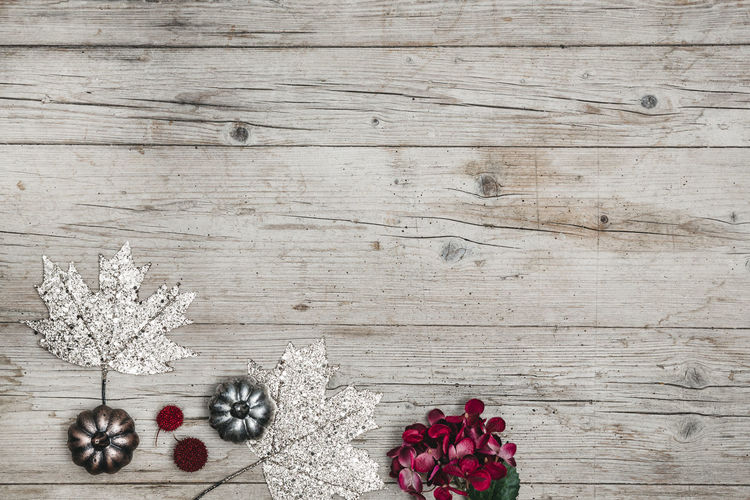autumnal gray wood background with decoration Berry Fruit Celebration Christmas Christmas Decoration Christmas Ornament Decoration Food Food And Drink Freshness Fruit Healthy Eating High Angle View Holiday Indoors  No People Pine Cone Plant Still Life Table Wellbeing Wood - Material
