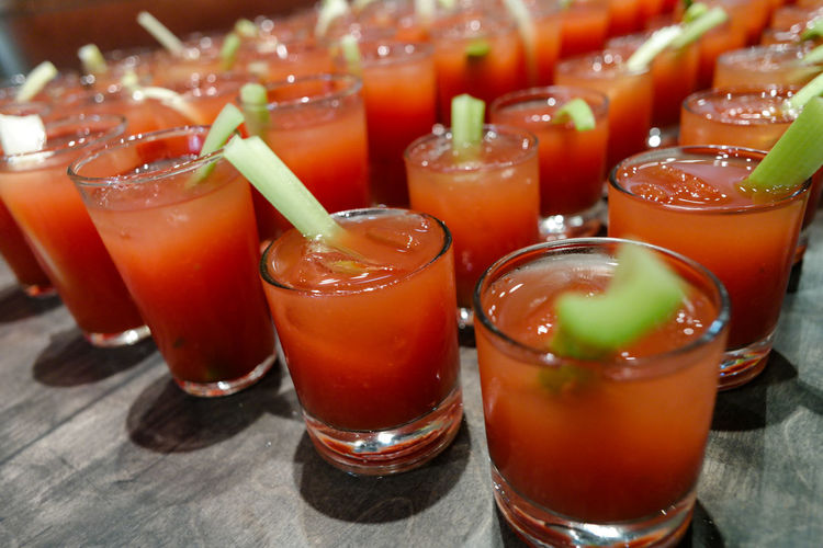 glasses of bloody mary