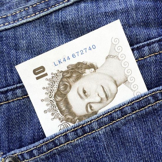10 Pound Note Blue Blue Background Cash Denim Face Features Legal Tender Money Note Paper Pocket  Pocket Money Protruding Queen Queen Elizabeth  Queens Head Single Object Symbol Ten Pound Note
