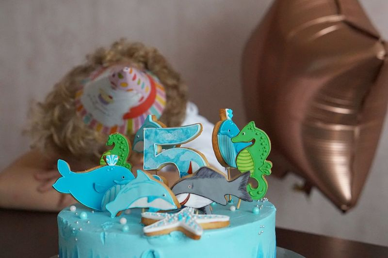 Close-up of birthday cake on table