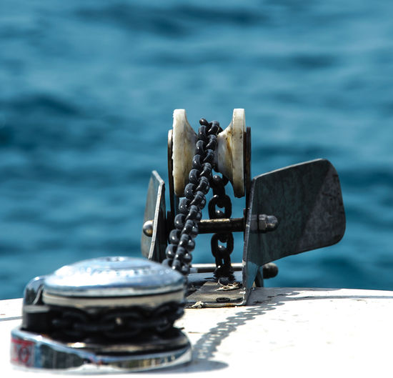 Close-up of pulley on boat