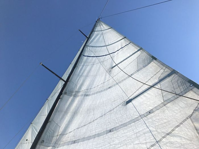 The strength of the wind Mainsail Sail Mast On Board Boat Wind Low Angle View Day Outdoors No People Clear Sky Blue Architecture Sailing Sky