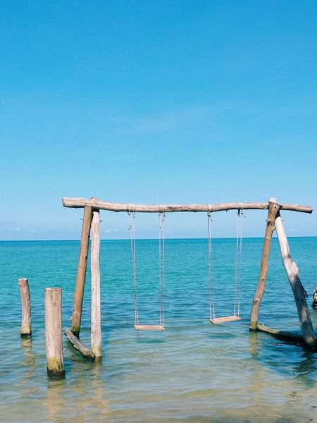 Travel Destination Carribean Blue Water Ocean Island Water Swing Clearwater Blue Vacation