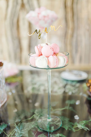 Close-up of pink cake on table
