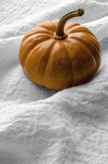 Close-up of pumpkin on textile